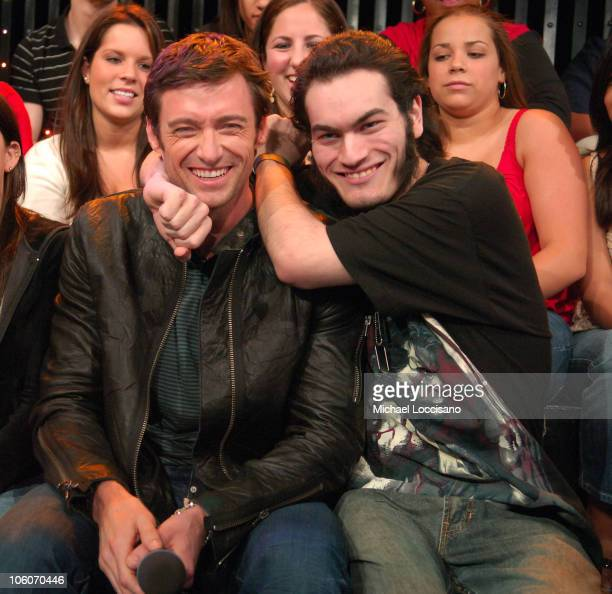 Hugh Jackman and Wolverine Fan Keith Grillman during Halle Berry and Hugh Jackman Visit MTV's 'TRL' May 25 2006 at MTV Studios Times Square in New...