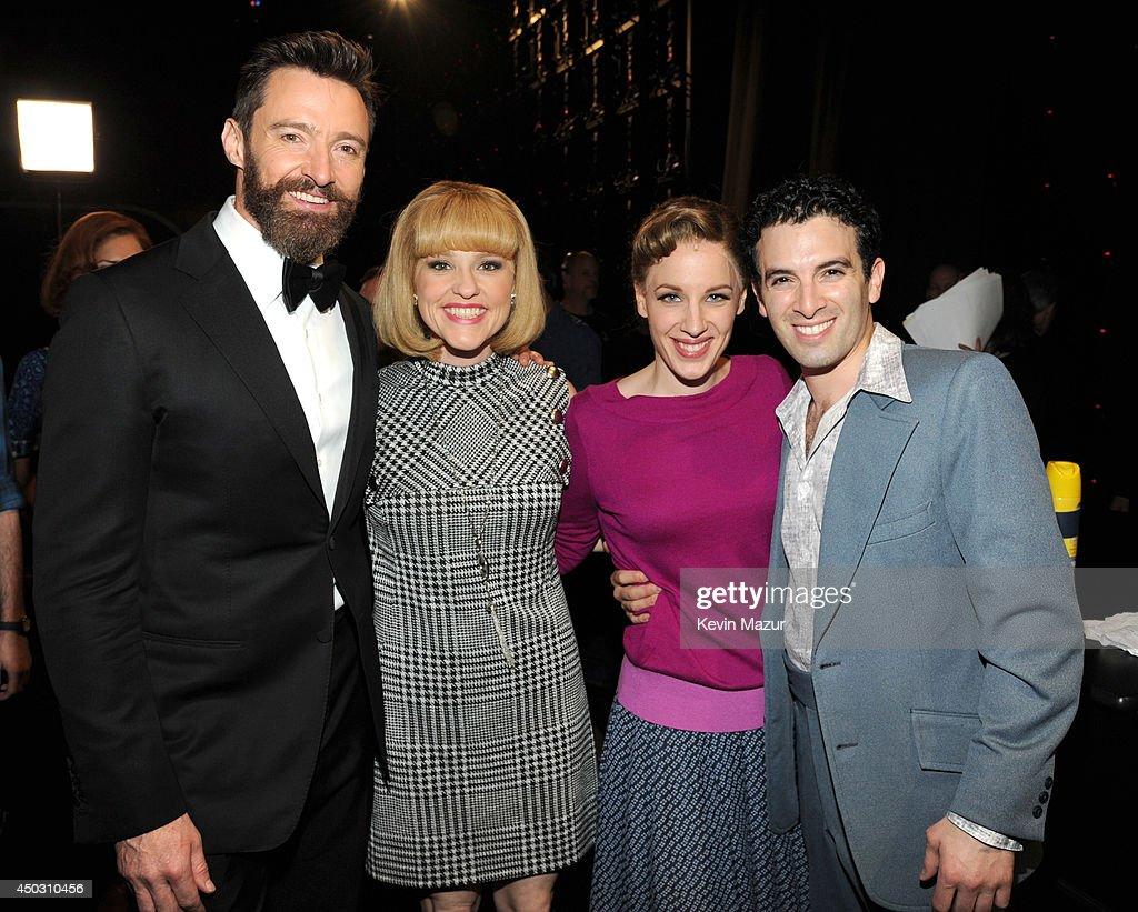 Hugh Jackman Anika Larsen Jessie Mueller and Jarrod Spector attend the 68th Annual Tony Awards at Radio City Music Hall on June 8 2014 in New York...