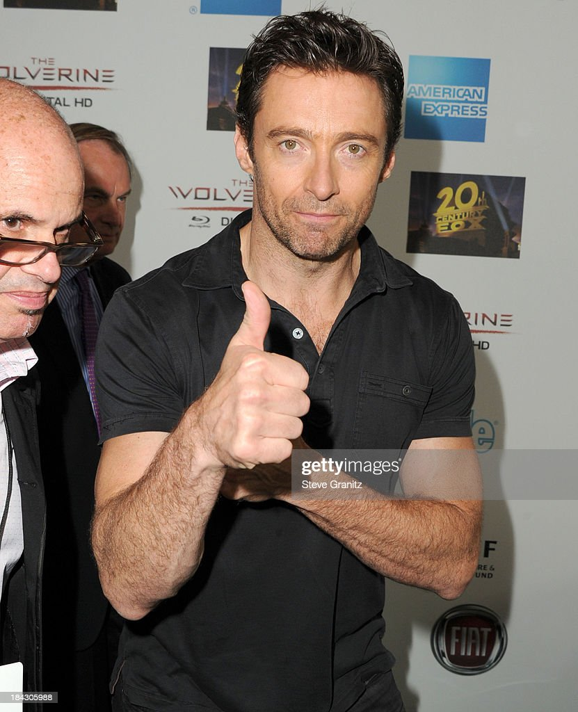 <a gi-track='captionPersonalityLinkClicked' href=/galleries/search?phrase=Hugh+Jackman&family=editorial&specificpeople=202499 ng-click='$event.stopPropagation()'>Hugh Jackman</a> arrives at the <a gi-track='captionPersonalityLinkClicked' href=/galleries/search?phrase=Hugh+Jackman&family=editorial&specificpeople=202499 ng-click='$event.stopPropagation()'>Hugh Jackman</a>: One Night Only Benefiting The Motion Picture & Television Fund at Dolby Theatre on October 12, 2013 in Hollywood, California.