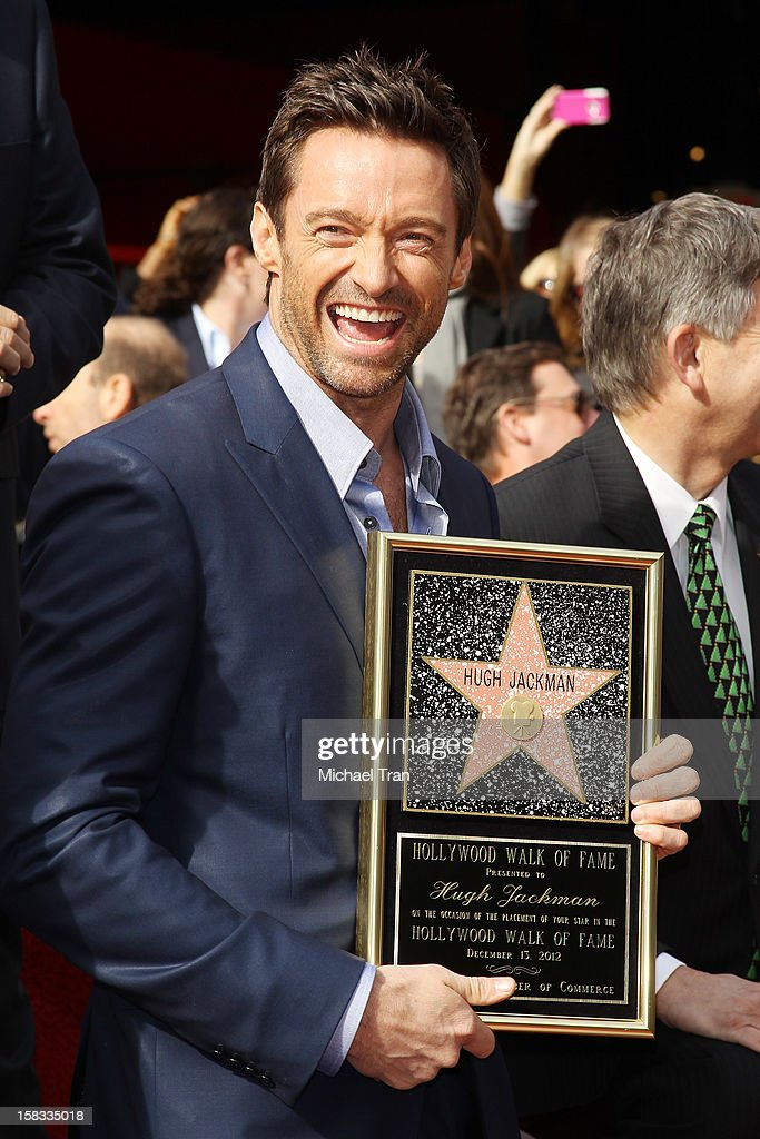 <a gi-track='captionPersonalityLinkClicked' href=/galleries/search?phrase=Hugh+Jackman&family=editorial&specificpeople=202499 ng-click='$event.stopPropagation()'>Hugh Jackman</a> attends the ceremony honoring him with a Star on The Hollywood Walk of Fame held on December 13, 2012 in Hollywood, California.