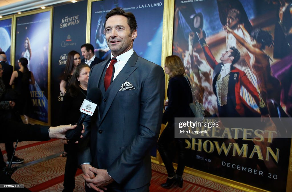 Hugh Jackman attends 'The Greatest Showman' World Premiere aboard the Queen Mary 2 at the Brooklyn Cruise Terminal on December 8, 2017 in the Brooklyn borough of New York City.