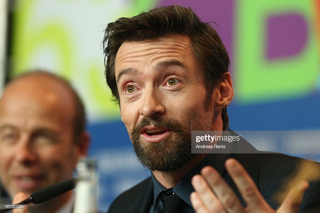 <a gi-track='captionPersonalityLinkClicked' href=/galleries/search?phrase=Hugh+Jackman&family=editorial&specificpeople=202499 ng-click='$event.stopPropagation()'>Hugh Jackman</a> attends the 'Les Miserables' press conference during the 63rd Berlinale International Film Festival at Grand Hyatt Hotel on February 9, 2013 in Berlin, Germany.