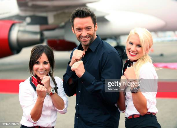 Hugh Jackman attends the photo call for the Virgin America unveils new DreamWorks 'Real Steel' plane held at LAX Airport on September 23 2011 in Los...