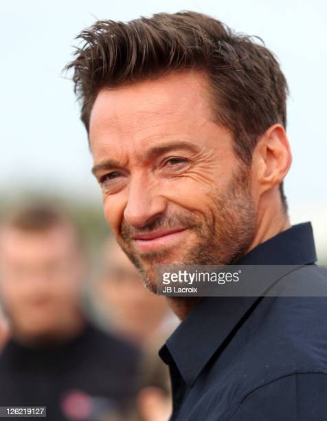 Hugh Jackman attends the unveiling of the new Virgin America and DreamWorks 'Reel Steel' Plane at LAX Airport on September 23 2011 in Los Angeles...