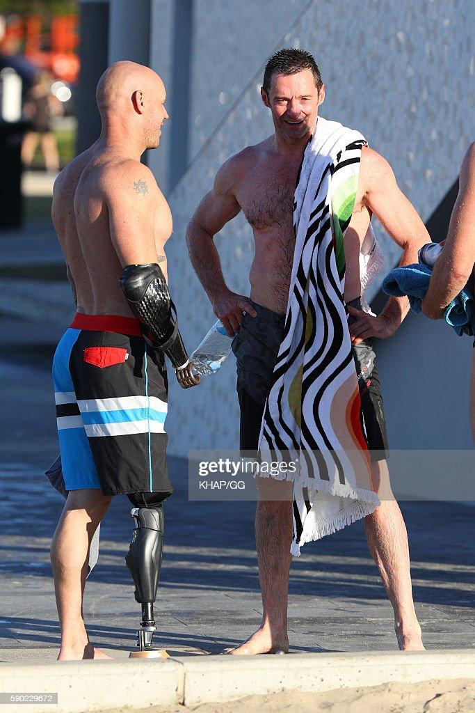 Hugh Jackman chats with Paul de Gelder on August 17 2016 in Sydney Australia
