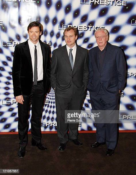 Hugh Jackman Christopher Nolan and Michael Caine during 'The Prestige' Paris Premiere at Gaumont Marignan Theater in Paris France