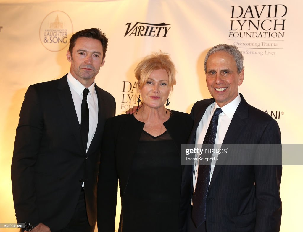 Hugh Jackman, Deborra-Lee Furness, and Bob Roth attend the National Night Of Laughter And Song event hosted by David Lynch Foundation at the John F. Kennedy Center for the Performing Arts on June 5, 2017 in Washington, DC.