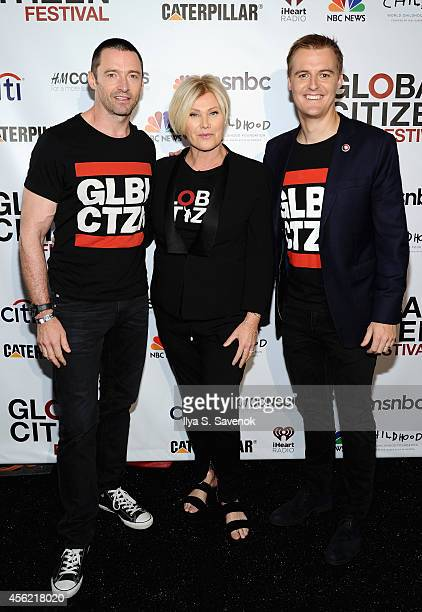 Hugh Jackman DeborraLee Furness and Hugh Evans attend VIP Lounge at the 2014 Global Citizen Festival to end extreme poverty by 2030 in Central Park...