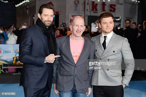 Hugh Jackman Eddie Edwards and Taron Egerton arrive for the European premiere of 'Eddie The Eagle' at Odeon Leicester Square on March 17 2016 in...