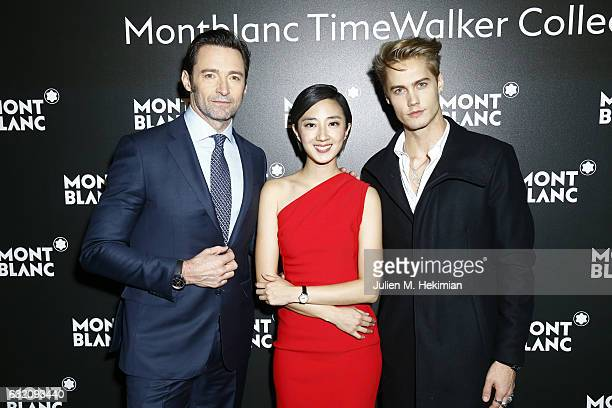 Hugh Jackman Gwei Lun Mei and Neels Visser attend the Montblanc Gala Dinner as part of The SIHH at Brasserie Des Halles on January 16 2017 in Geneva...