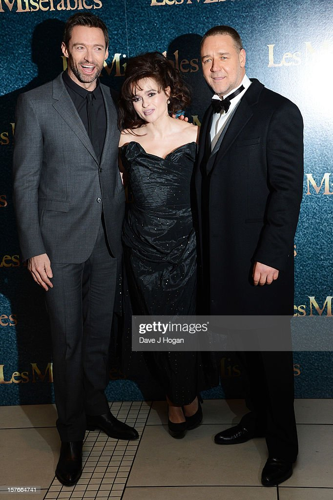 Hugh Jackman, Helena Bonham Carter and Russell Crowe attend the world premiere of Les Miserables at The Odeon Leicester Square on December 5, 2012 in London, England.