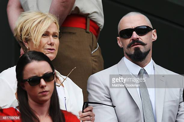 Hugh Jackman in the Royal Box on Centre Court before the Gentlemen's Singles Final match between Roger Federer of Switzerland and Novak Djokovic of...