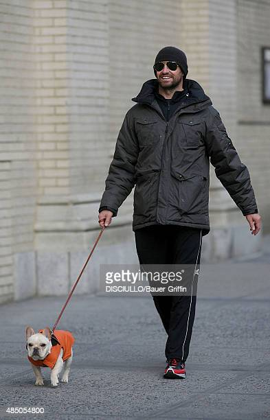 Hugh Jackman is seen walking his dog on March 14 2011 in New York City