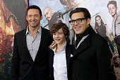 Hugh Jackman Levi Miller and Joe Wright attend 'Pan' premiere at Ziegfeld Theater on October 4 2015 in New York City
