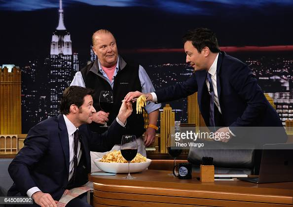 Hugh Jackman Mario Batali and Jimmy Fallon during a taping of 'The Tonight Show Starring Jimmy Fallon' at Rockefeller Center on February 24 2017 in...