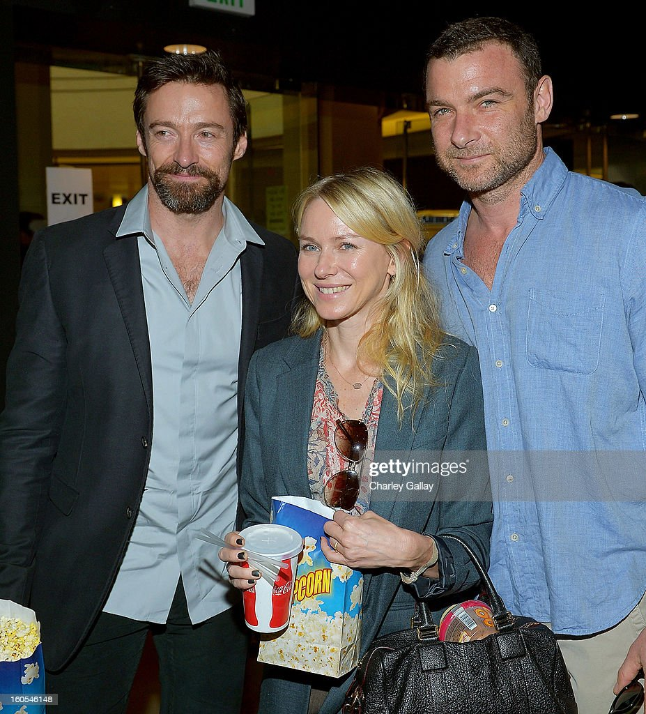 Hugh Jackman, Naomi Watts, and Liev Schreiber attends the 'Escape From Planet Earth' premiere presented by The Weinstein Company in partnership with Sabra at Mann Chinese 6 on February 2, 2013 in Los Angeles, California.