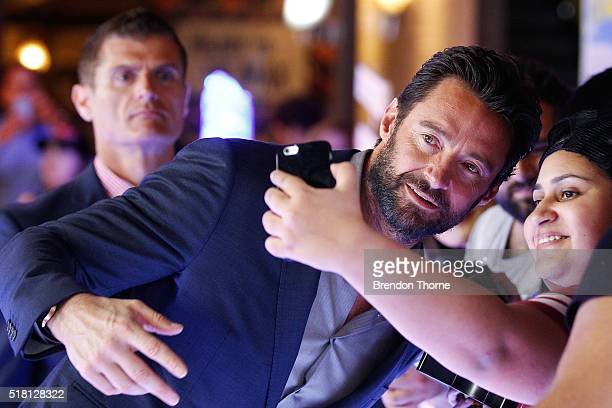 Hugh Jackman poses for a 'selfie' with fans ahead of the Eddie The Eagle screening at Event Cinemas Bondi Junction on March 30 2016 in Sydney...