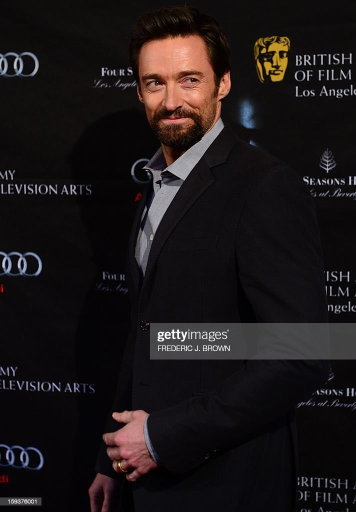 Hugh Jackman poses on arrival for the British Academy of Film and Television Arts (BAFTA) Los Angeles Awards Season Tea Party on January 12, 2013 in Beverly Hills, California. AFP PHOTO / Frederic J. BROWN