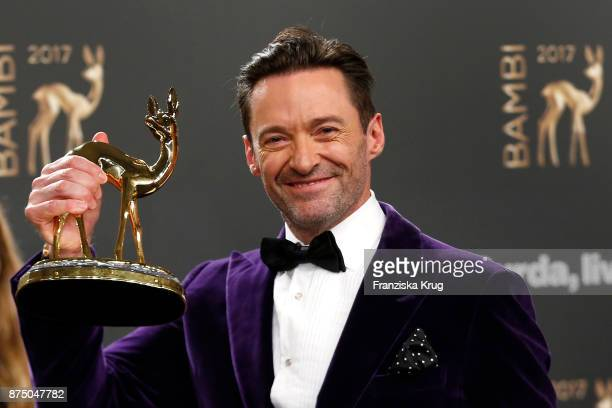 Hugh Jackman poses with an award at the Bambi Awards 2017 winners board at Stage Theater on November 16 2017 in Berlin Germany