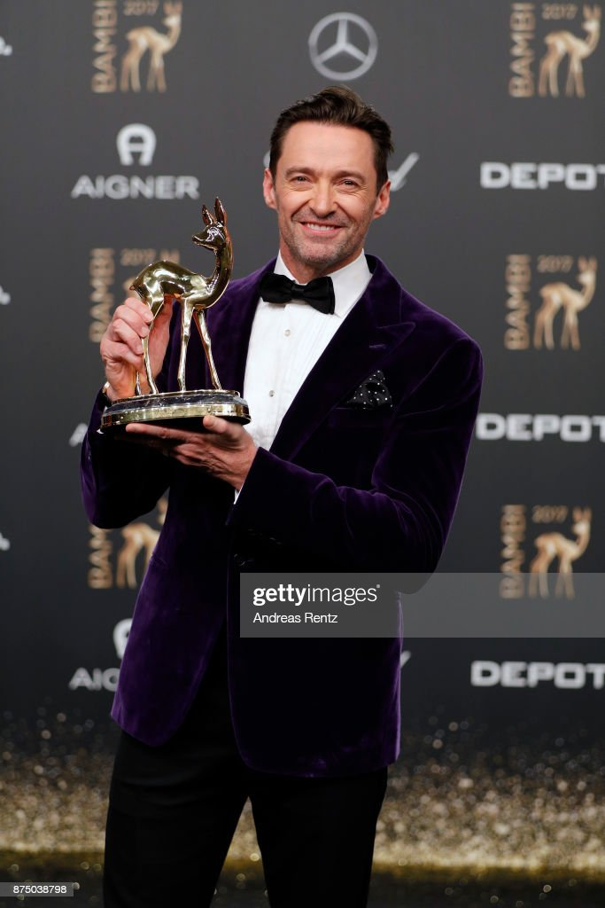 Hugh Jackman poses with his award at the Bambi Awards 2017 winners board at Stage Theater on November 16, 2017 in Berlin, Germany.