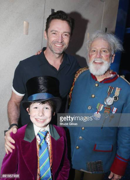 Hugh Jackman poses with the cast backstage at the hit musical 'Charlie and the Chocolate Factory' on Broadway at The Lunt Fontanne Theatre on June 3...