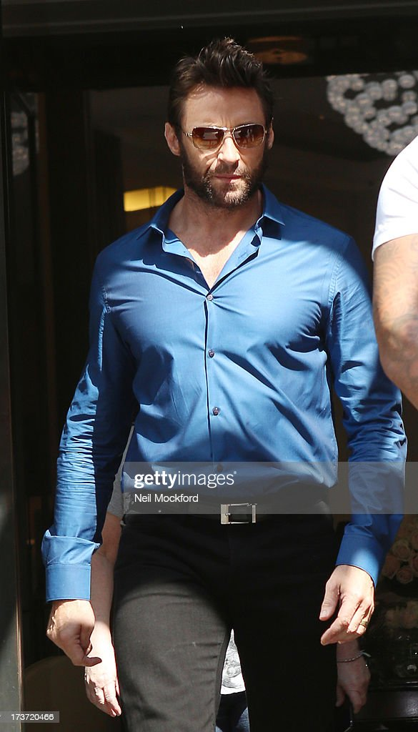 <a gi-track='captionPersonalityLinkClicked' href=/galleries/search?phrase=Hugh+Jackman&family=editorial&specificpeople=202499 ng-click='$event.stopPropagation()'>Hugh Jackman</a> seen leaving his hotel on July 17, 2013 in London, England.