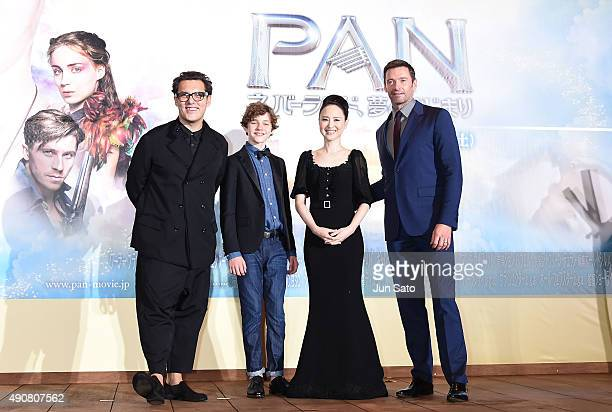 Hugh Jackman Seiko Matsuda Levi Miller and director Joe Wright attend the Japan Premiere of 'Pan' at the Roppongi Hills on October 1 2015 in Tokyo...