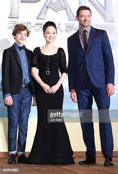Hugh Jackman Seiko Matsuda Levi Miller attend the Japan Premiere of 'Pan' at the Roppongi Hills on October 1 2015 in Tokyo Japan