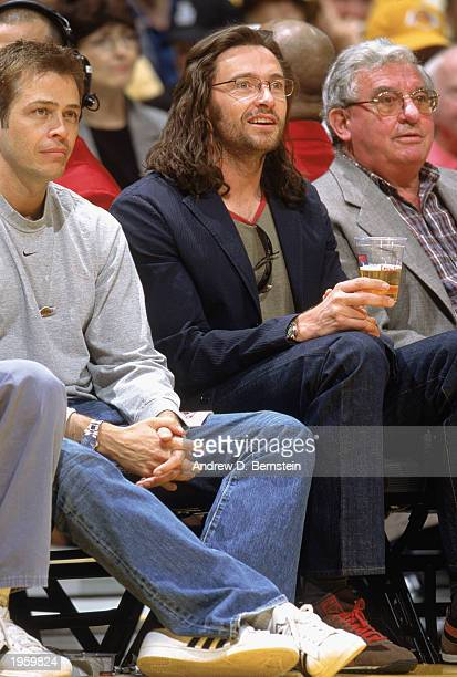 Hugh Jackman sits courtside during Game Four of the Western Conference Quarterfinals of the Los Angeles Lakers against the Minnesota Timberwolves...