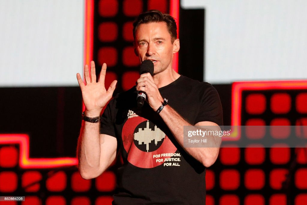 Hugh Jackman speaks during the 2017 Global Citizen Festival at The Great Lawn of Central Park on September 23, 2017 in New York City.