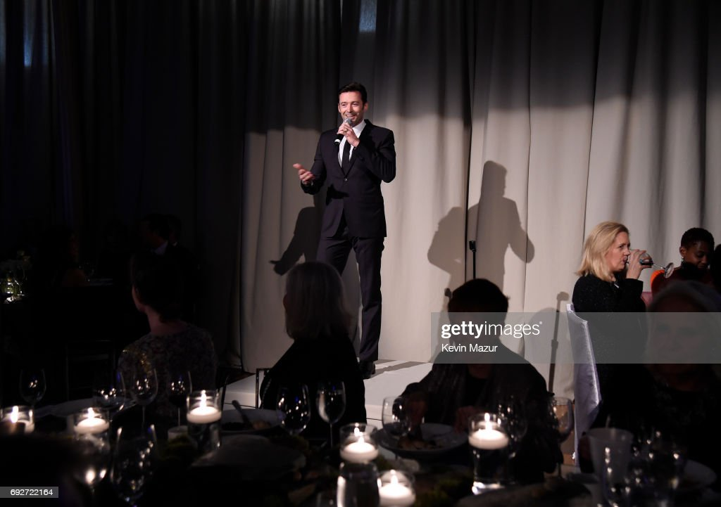 Hugh Jackman speaks on stage at the National Night Of Laughter And Song event hosted by David Lynch Foundation at the John F. Kennedy Center for the Performing Arts on June 5, 2017 in Washington, DC.