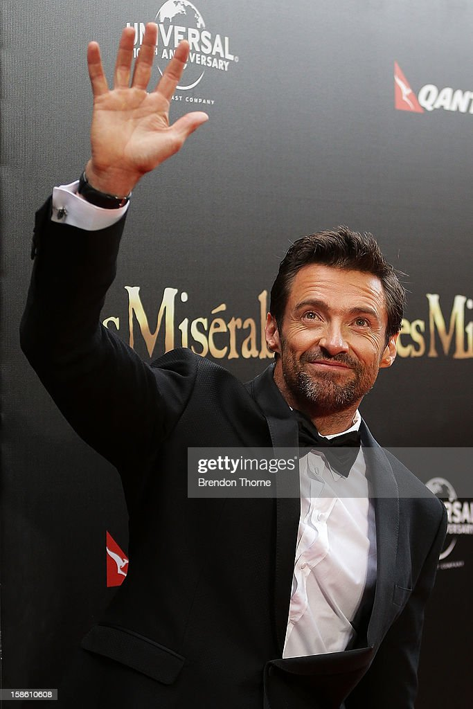 Hugh Jackman waves to fans during the Australian premiere of 'Les Miserables' at the State Theatre on December 21, 2012 in Sydney, Australia.
