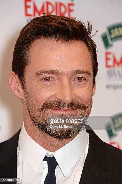 Hugh Jackman winner of the Empire Icon Award poses in the press room at the Jameson Empire Awards 2014 at The Grosvenor House Hotel on March 30 2014...