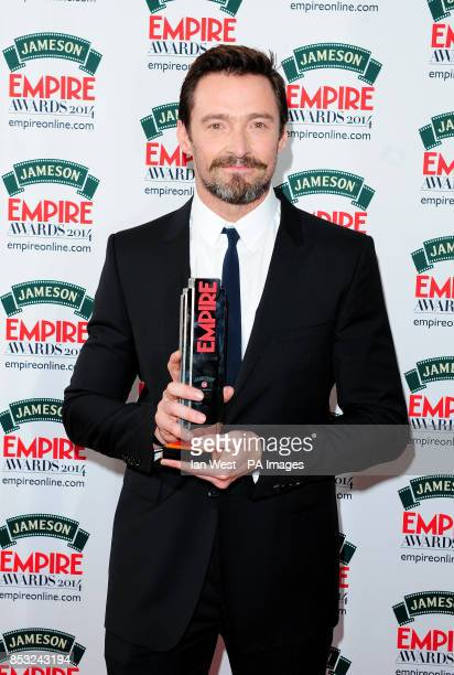 Hugh Jackman wins the Empire Icon award at the Empire Magazine Film Awards held at the Grosvenor Hotel in London