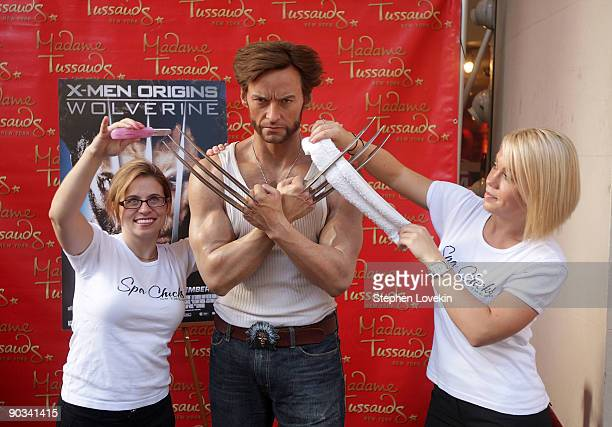 Hugh Jackman's 'Wolverine' wax figure receives a manicure at Madame Tussauds on September 4 2009 in New York City