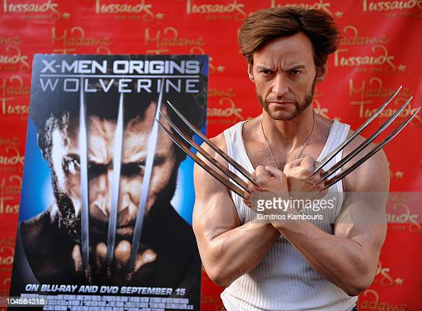 Hugh Jackman's 'Wolverine' Wax Figure receives a manicure from Spa Chicks OnTheGo at Madame Tussauds on September 4 2009 in New York City