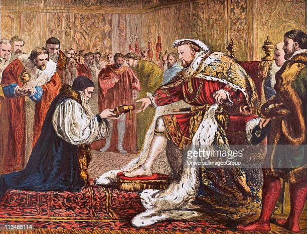 Hugh Latimer 1485 to 14901555 English protestant preacher and martyr presenting the Bible to King Henry VIII 14911547 From Old England's Worthies by...