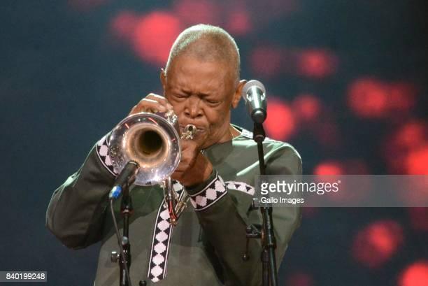 Hugh Masekela is a worldrenowned flugelhornist trumpeter bandleader composer singer during the DStv Mzansi Viewers Choice Awards event at the Sandton...