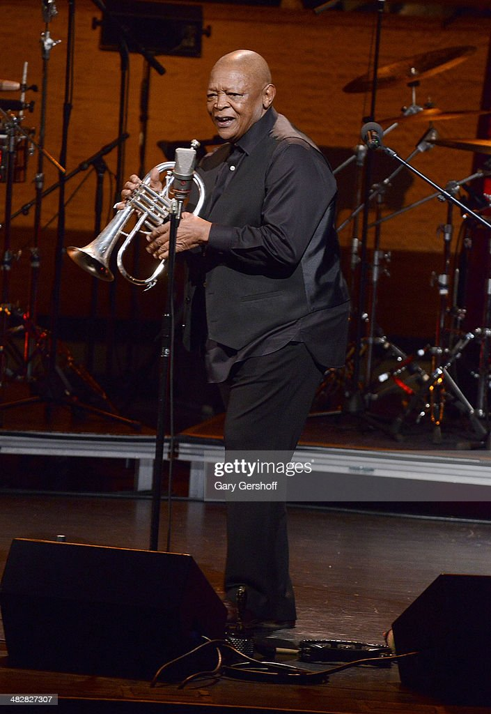 <a gi-track='captionPersonalityLinkClicked' href=/galleries/search?phrase=Hugh+Masekela&family=editorial&specificpeople=698349 ng-click='$event.stopPropagation()'>Hugh Masekela</a> performs during the <a gi-track='captionPersonalityLinkClicked' href=/galleries/search?phrase=Hugh+Masekela&family=editorial&specificpeople=698349 ng-click='$event.stopPropagation()'>Hugh Masekela</a>: Celebrating 75 Years concert at Rose Theater, Jazz at Lincoln Center on April 4, 2014 in New York City.