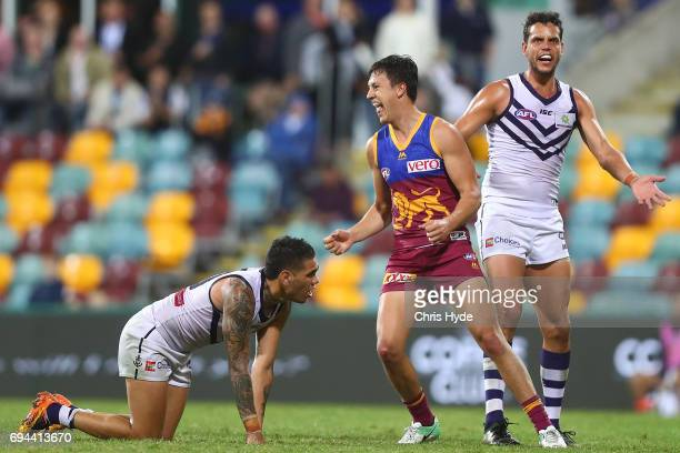 Hugh McCluggage of the Lions celebrates a goal during the round 12 AFL match between the Brisbane Lions and the Fremantle Dockers at The Gabba on...