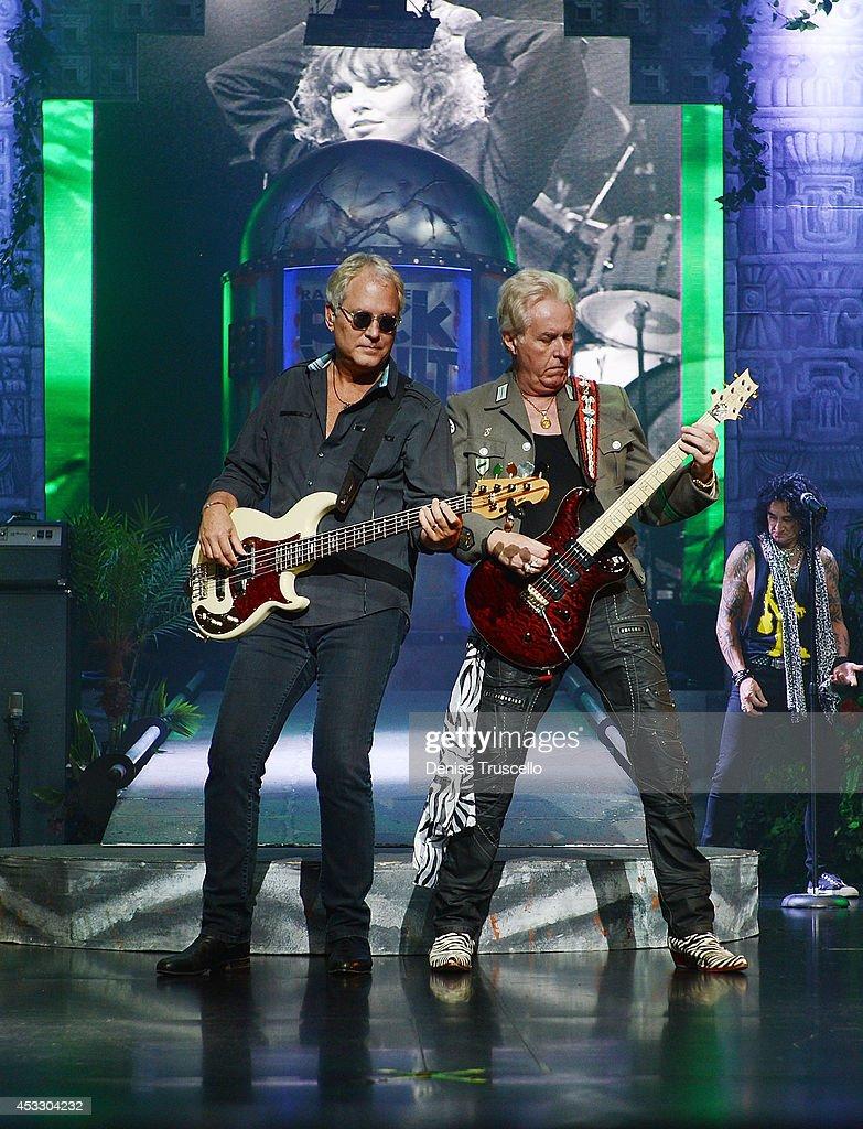 Hugh McDonald and Howard Leese of Raiding the Rock Vault performs at the Westgate Las Vegas Resort and Casino on August 6, 2014 in Las Vegas, Nevada.