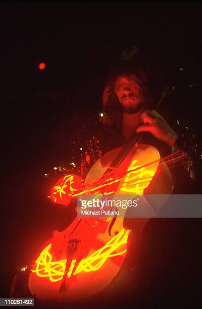 Hugh McDowell of Electric Light Orchestra ELO performs on stage February 1977 London