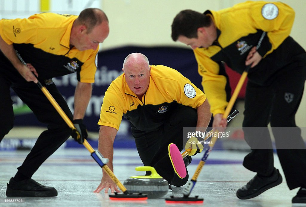Hugh Millikin of Australia watches his stone during the Pacific Asia 2012 Curling Championship at the Naseby Indoor Curling Arena on November 23, 2012 in Naseby, New Zealand.