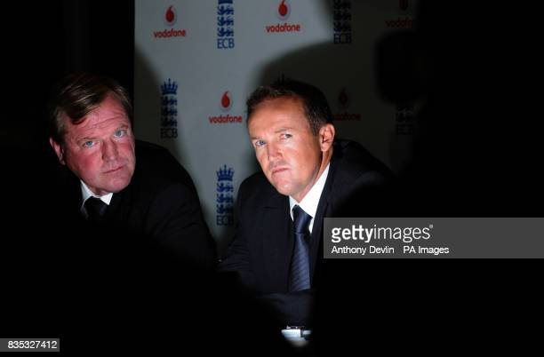 Hugh Morris Director England Cricket looks on as Andy Flower is named as the new England Team Director at Lord's Cricket Ground London