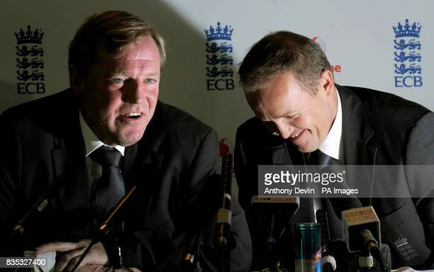 Hugh Morris Managing Director England Cricket shares a laugh with Andy Flower as he is named as the new England Team Director at Lord's Cricket...