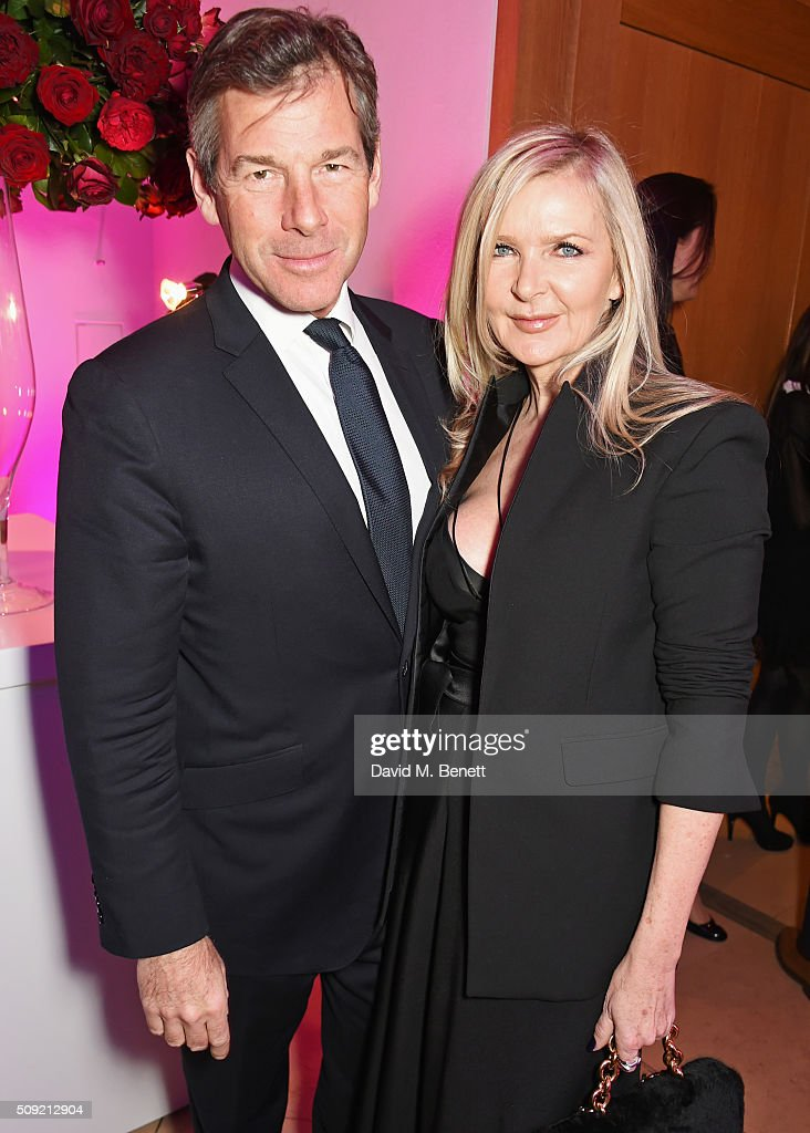 Hugh Morrison (L) and Amanda Wakeley attend a private view of 'Vogue 100: A Century of Style' hosted by Alexandra Shulman and Leon Max at the National Portrait Gallery on February 9, 2016 in London, England.