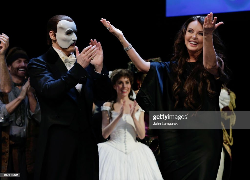 Hugh Panaro and <a gi-track='captionPersonalityLinkClicked' href=/galleries/search?phrase=Sarah+Brightman&family=editorial&specificpeople=208636 ng-click='$event.stopPropagation()'>Sarah Brightman</a> attend 'The Phantom Of The Opera' Broadway 25th Anniversary at Majestic Theatre on January 26, 2013 in New York City.