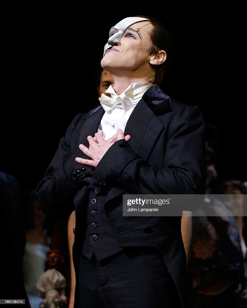 Hugh Panaro performs at 'The Phantom Of The Opera' Broadway 25th Anniversary at Majestic Theatre on January 26, 2013 in New York City.