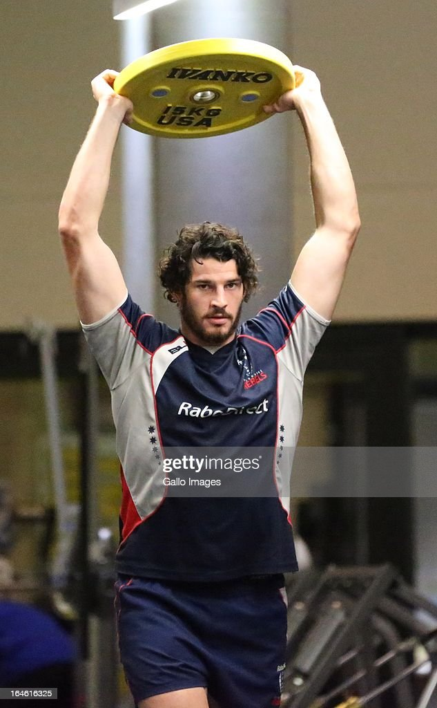 Hugh Pyle during the Melbourne Rebels gym session at the Prime Human Performance Institute at Moses Mabhida Stadium on March 25, 2013 in Durban, South Africa.