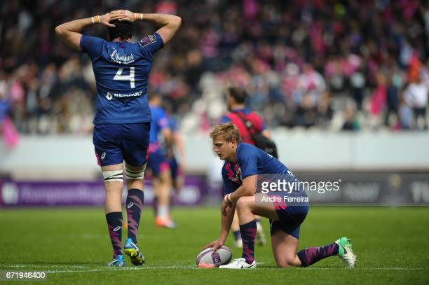 Hugh Pyle of Stade Francais and Jules Plisson of Stade Francais during the European Challenge Cup semi final between Stade Francais and Bath on April...
